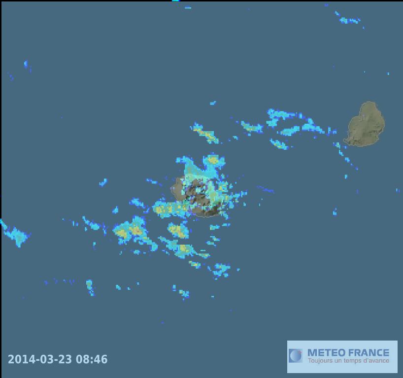 Image radar meteo reunion et maurice 23 mars 2014