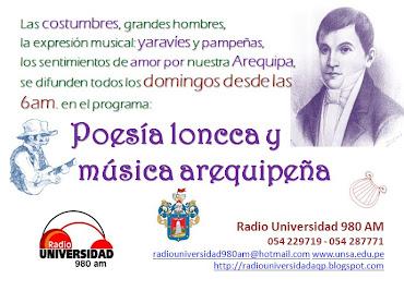 Poesía loncca y música arequipeña: Domingos desde la 6 am.