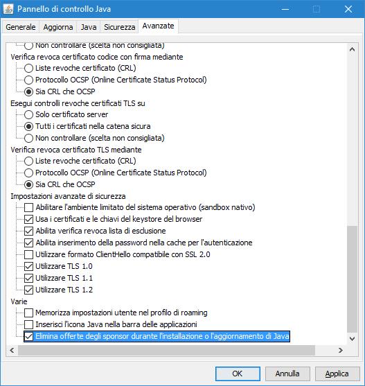 Pannello di controllo Java