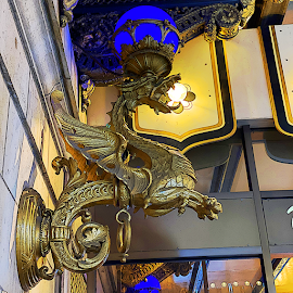 Drake Hotel bronze dragon light.