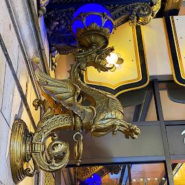Drake Hotel bronze dragon light.