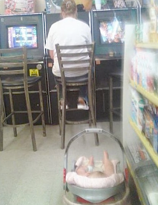 Funny Picture: Mother with baby on gambling