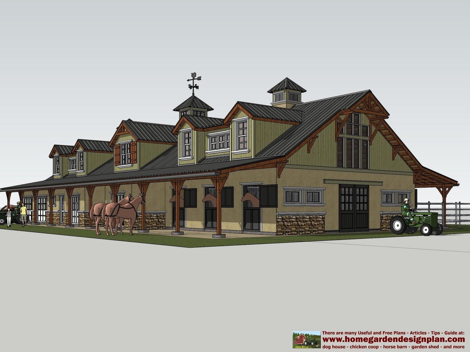 Home Garden Plans Hb100 Horse Barn Plans Horse Barn