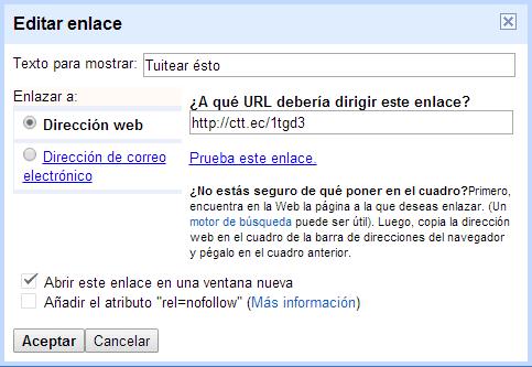 Opciones de configuracion de un enlace del panel de entradas
