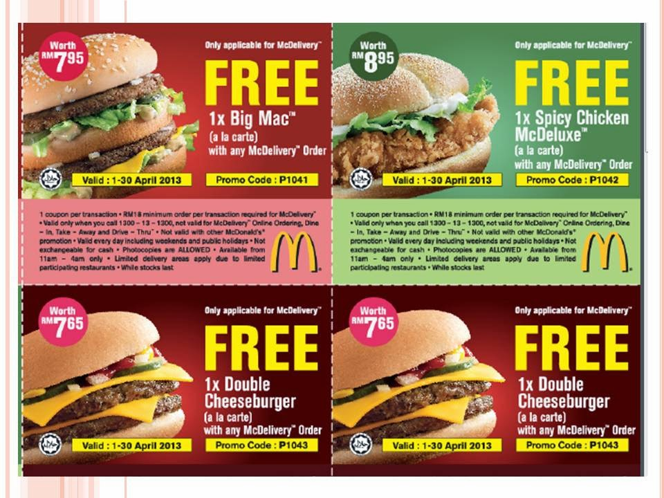 Take a look at our 11 McDonalds coupons including 11 sales. Most popular now: Check Out Promotions Section for Big Savings!. Latest offer: $3 Off $10+ Purchase with McDonald's App.