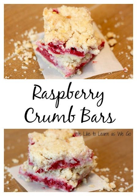 raspberries, crumb bars