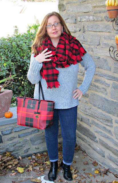 Grey Sweater and Jeans Styled With Red Plaid Accessories