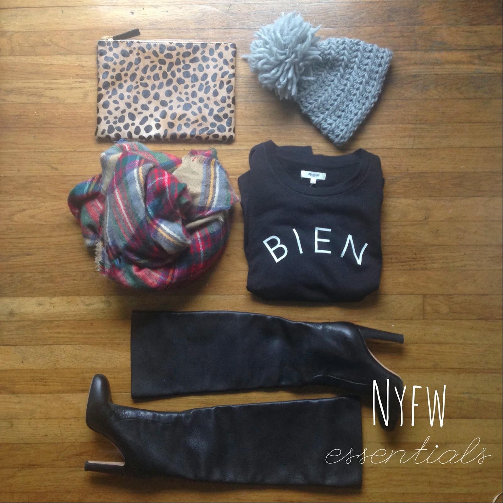 NYFW essentials boots leopard plaid scarf bag