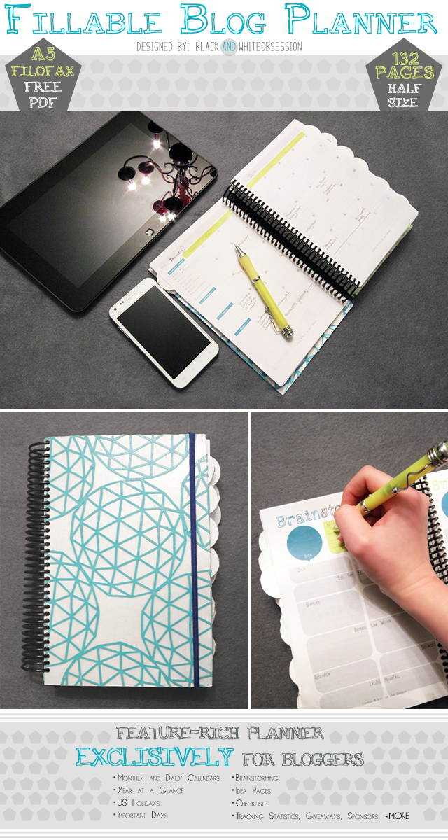 Black and White Obsession | Free Half Size Blogger Planner/ Filofax A5