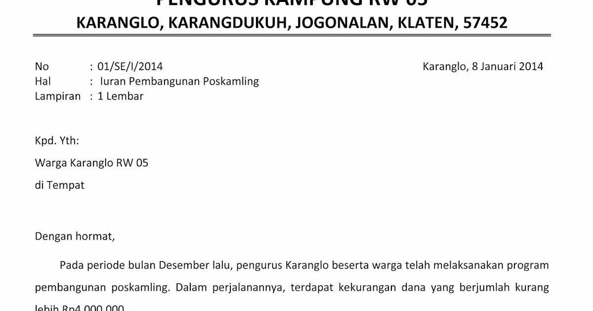 Rw 5 Karanglo Karangdukuh Contoh Surat Edaran Himbauan