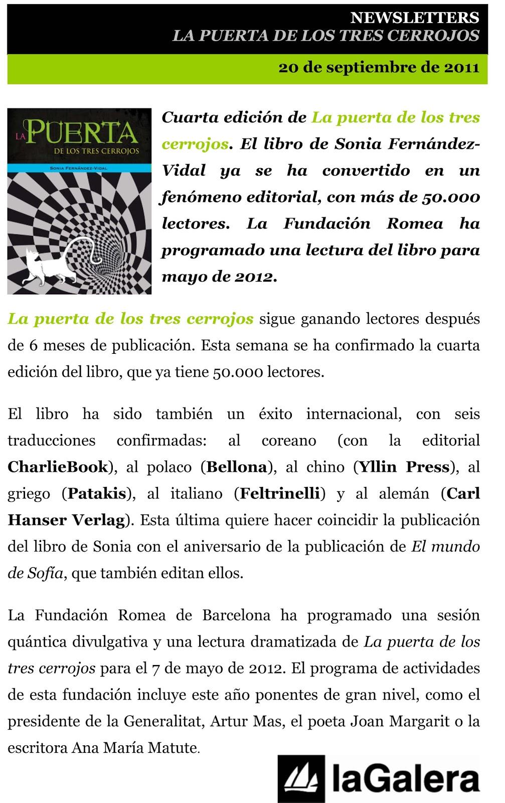 Descubre el maravilloso mundo de la física cuántica gracias a La puerta de  los tres cerrojos de Sonia Fernández-Vidal (Ed. La Galera) [Actualizada]