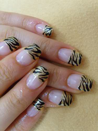 zebra nail art design black