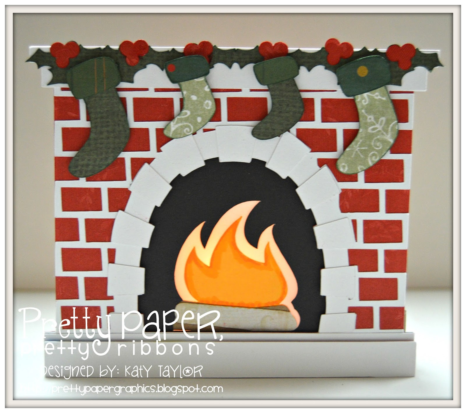 pretty paper pretty ribbons shadow box fireplace card