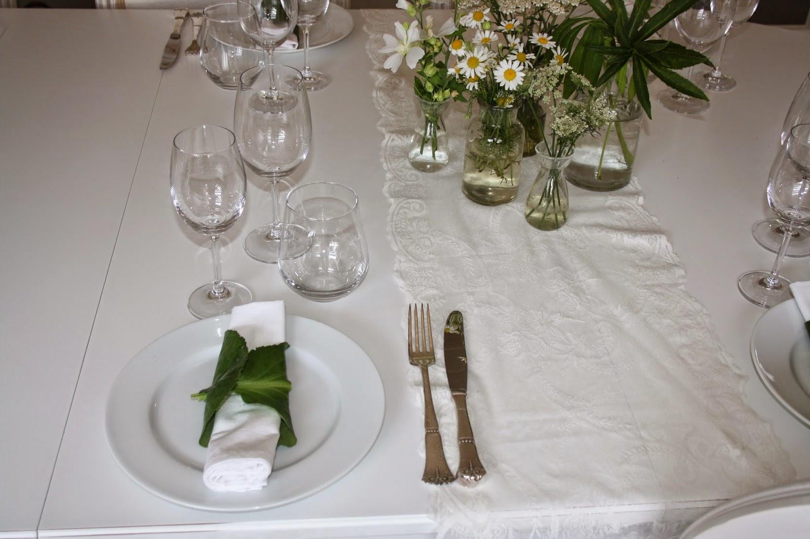Borddækning glas frokost
