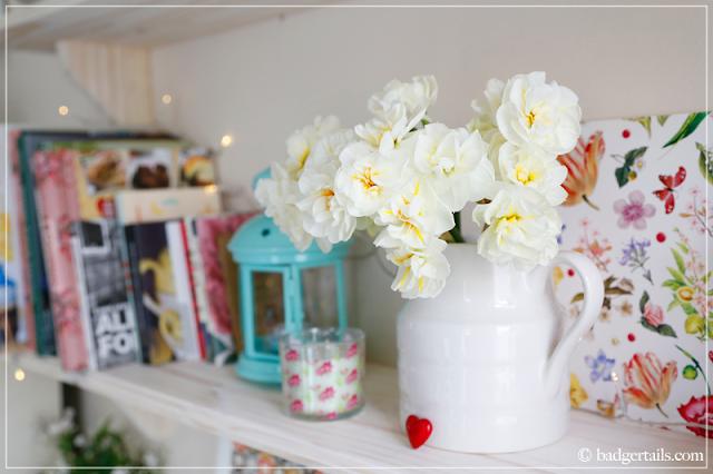 Workspace Makeover - White Narcissus on Bookshelves