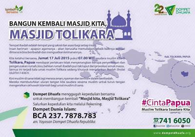 Mari bantu bangun kembali Masjid Tolikara Papua