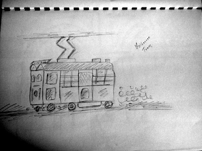 Melbourne Tram Pencil Sketch