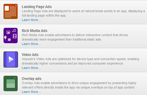Landing Page, Rich Media, Video, Overlay Ads