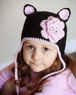 mũ len đẹp kiểu gấu cho bé gái