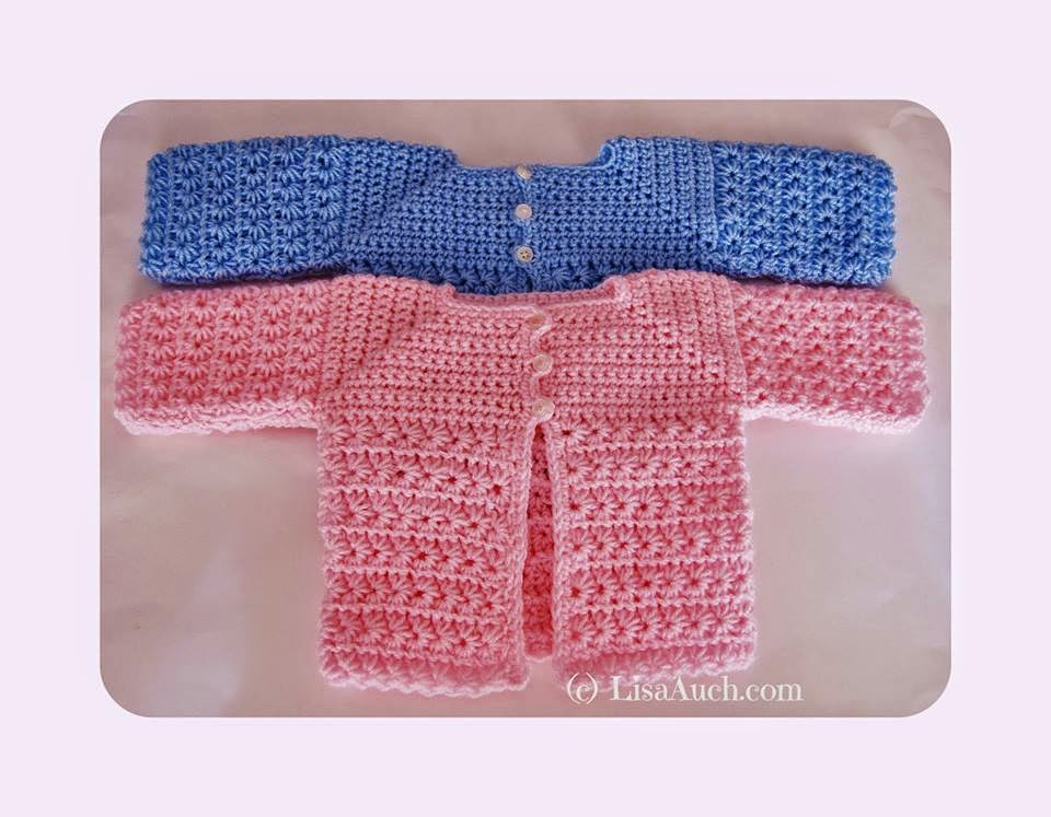 Easy Crochet Baby Sweater Pattern Free : Easy Newborn Crochet Cardigan FREE Pattern A Star is Born ...