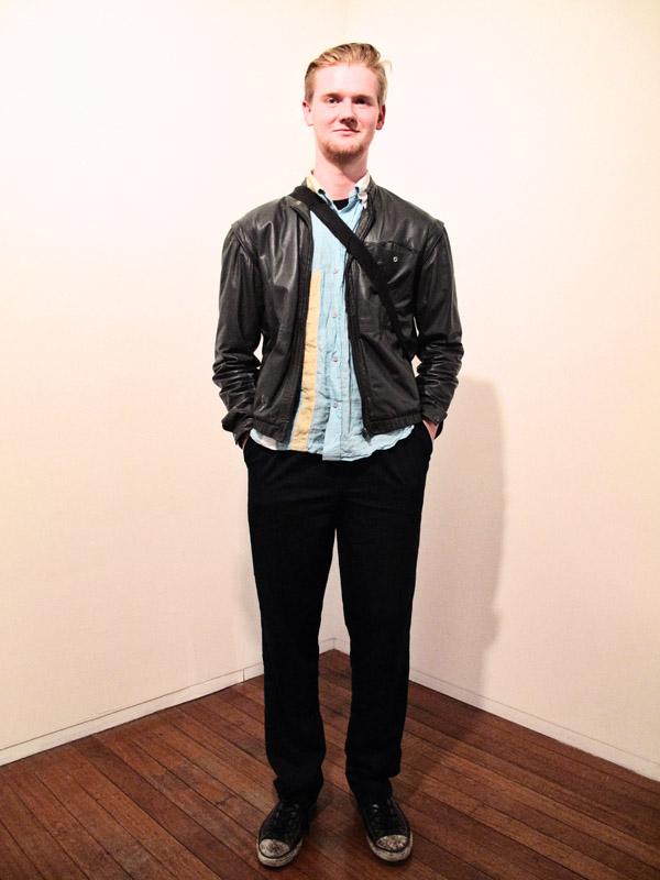 Street Fashion, Leather Blouson, asymmetric mint/yellow shirt, black pants bag and converse boots, Roslyn Oxley9
