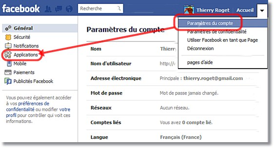 accès aux applications tierce de facebook