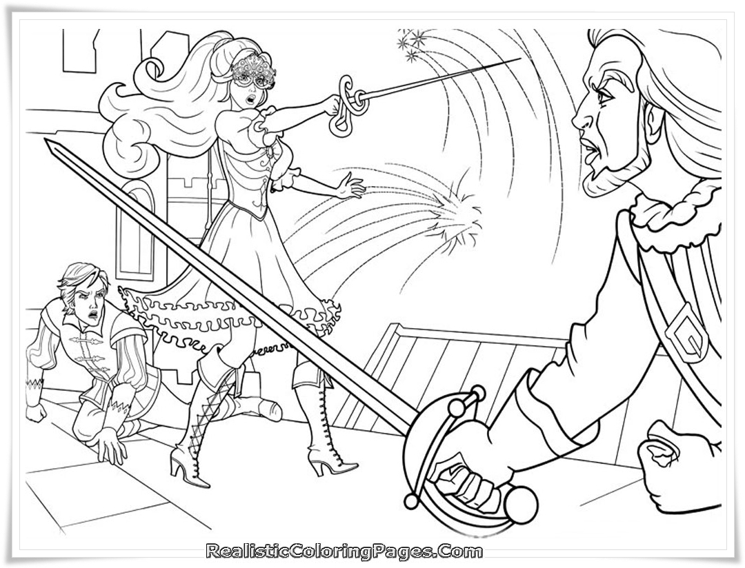 Barbie And The Three Musketeer Free Colouring Pages