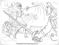 Barbie As Musketeers Fighting Coloring Pages For Girls