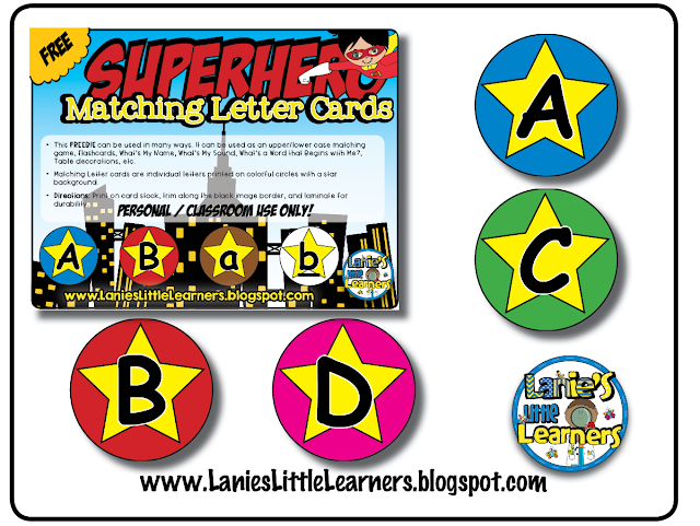Alphabet Matching Cards {Superhero Theme}  FREEBIE!