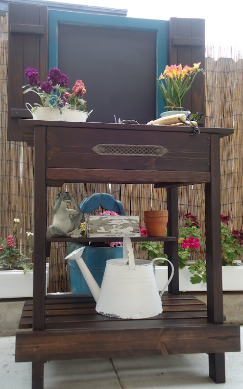 Vintage Window (Chalkboard) Table with Shutters, Lift Up Top and Vintage Hardware - SOLD