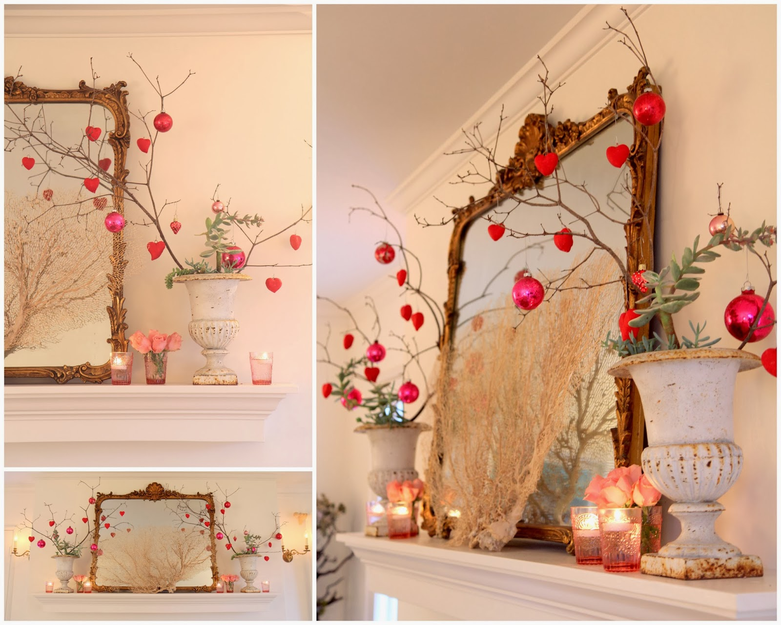 Red Heart Ornaments for Valentine's Day Mantle Decor