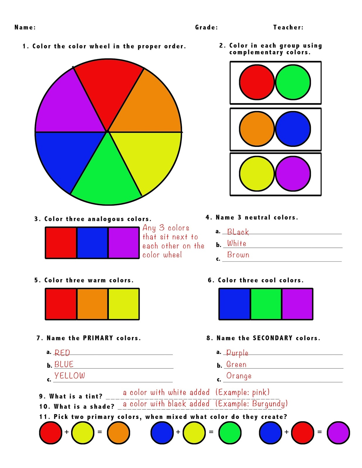 5th Grade Color Wheel Test