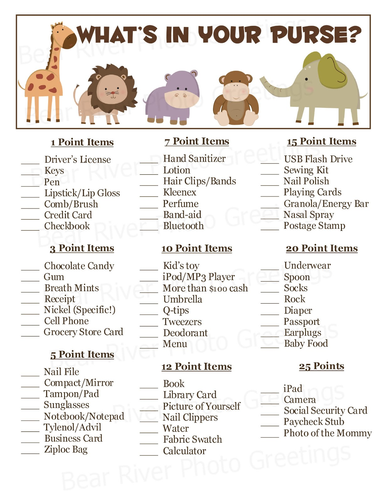 Amazing image for what's in your purse printable