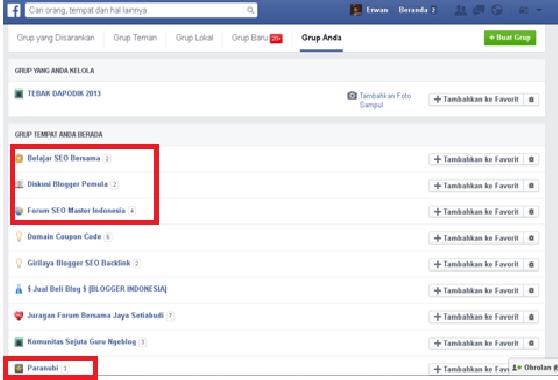 Group di facebook Tempat elajar SEO Bersama