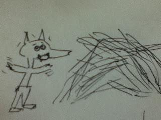 Lobo asustado al caerse casa de paja