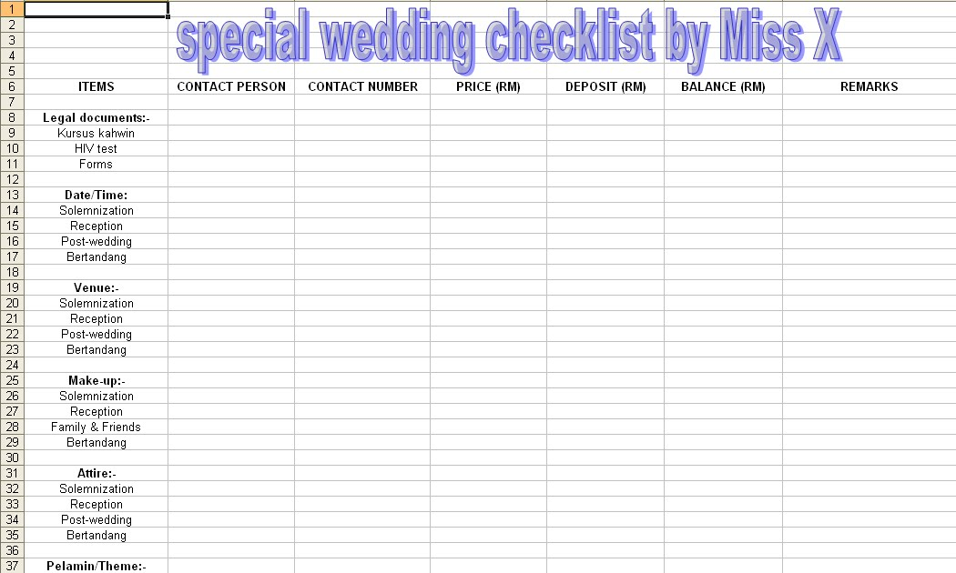 Wedding Decorations Checklist My Wedding Checklist Auto Design Tech