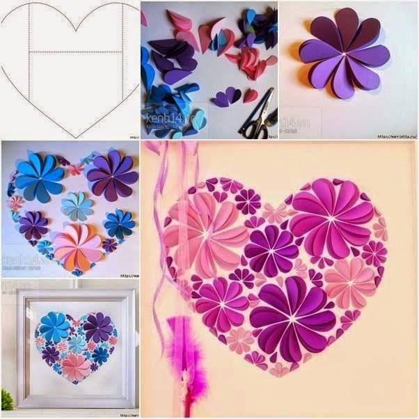 Wall Art Heart Picture : Diy easy paper heart flower wall art handy
