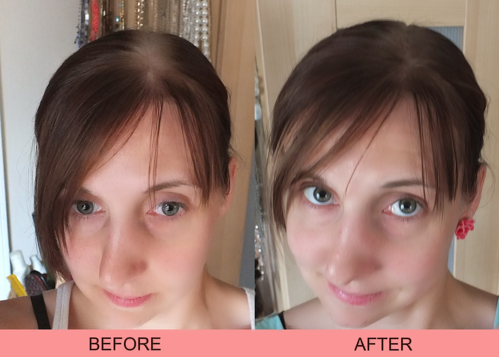 Headshot of Before and after using chalk to cover up roots