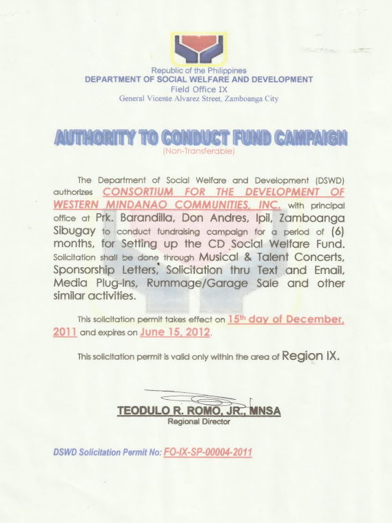 Authority to Conduct Fund Campaign