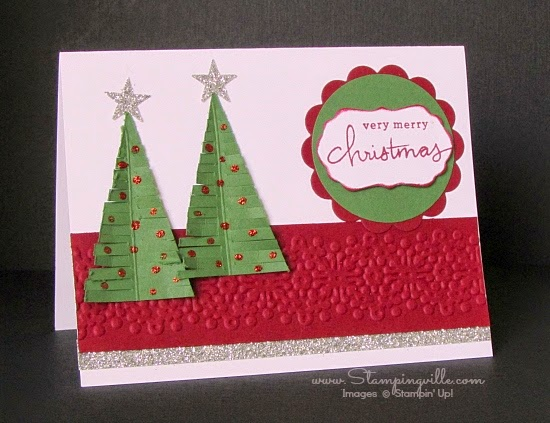 Cute little hand-cut Christmas trees with bling | Stampingville #cardmaking #papercrafts #StampinUp