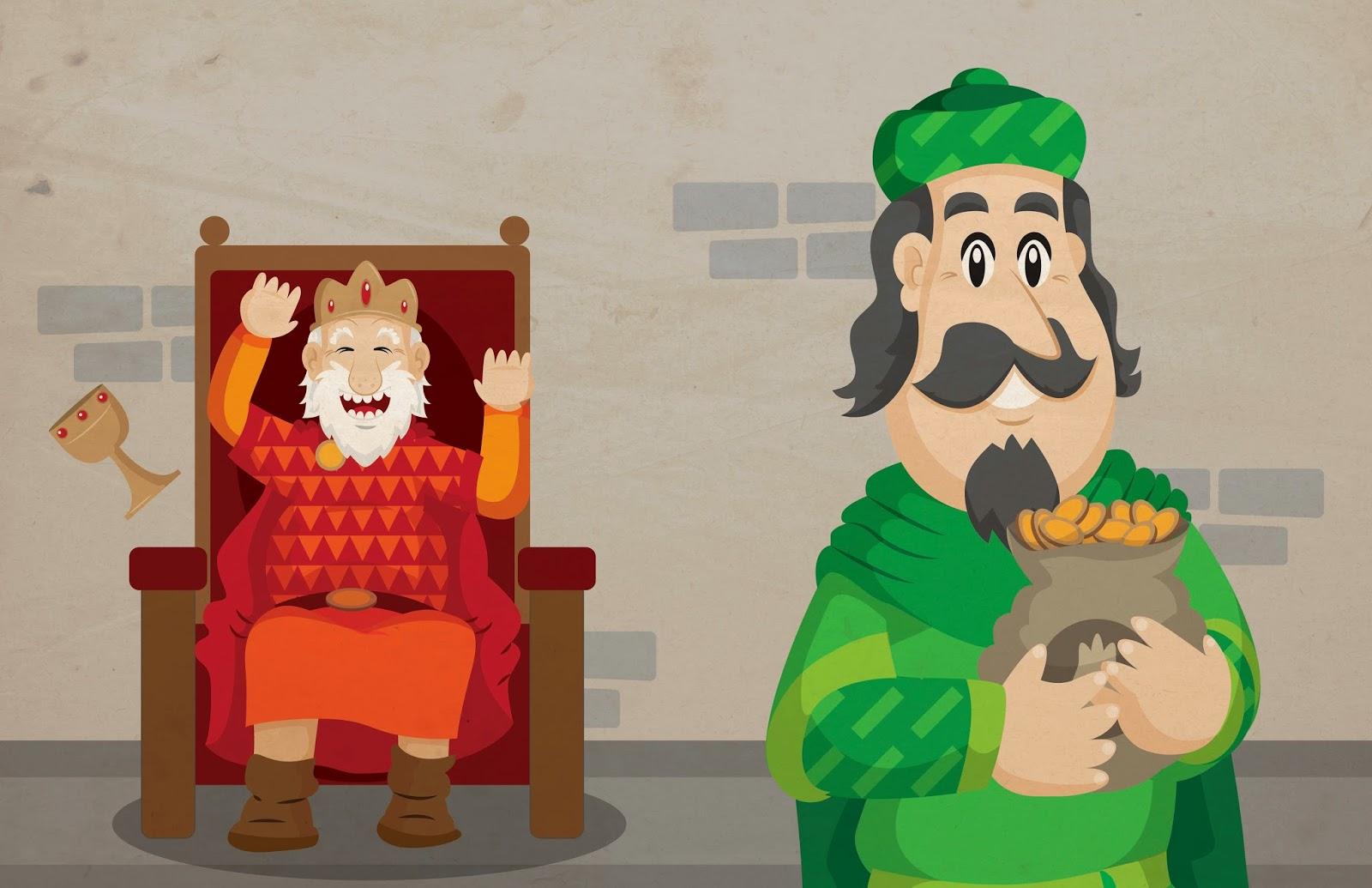 Ilustración, infantil, cuento, Los dientes del rey, vector, castillo, king, castle, digital.