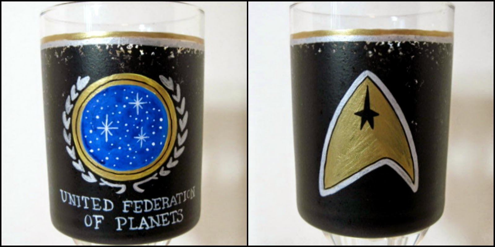 Star Trek Inspired Painted Rocks Glass