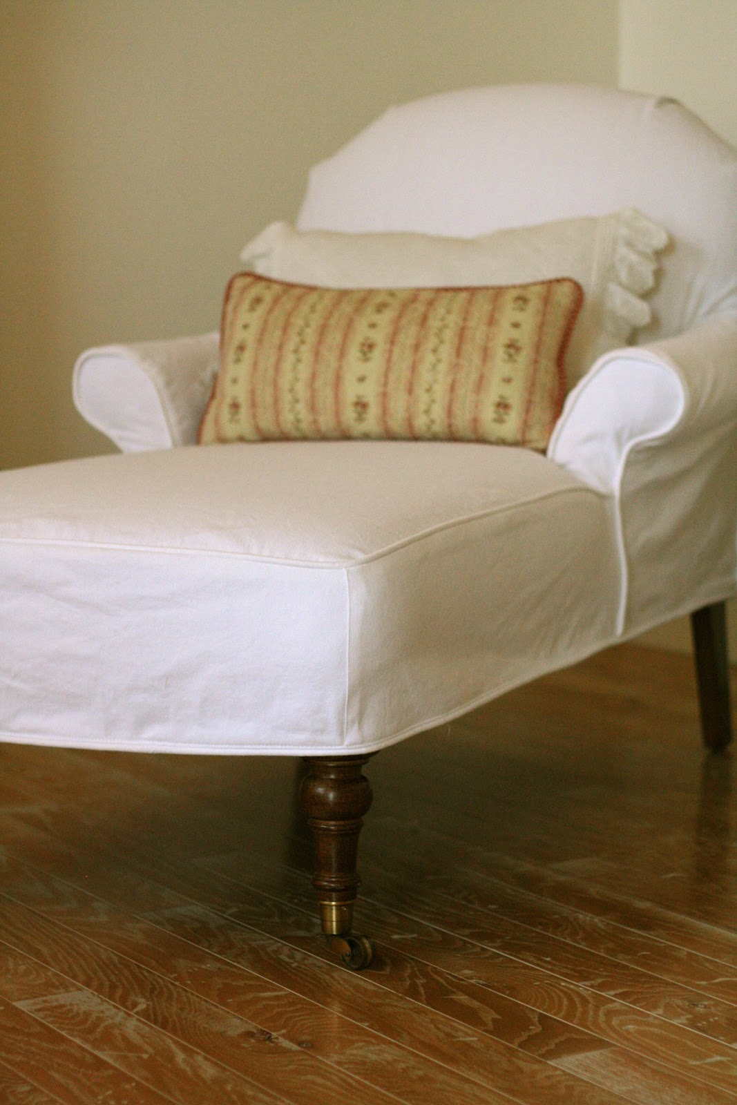 Custom slipcovers by shelley white denim chaise for Chaise couch slipcover
