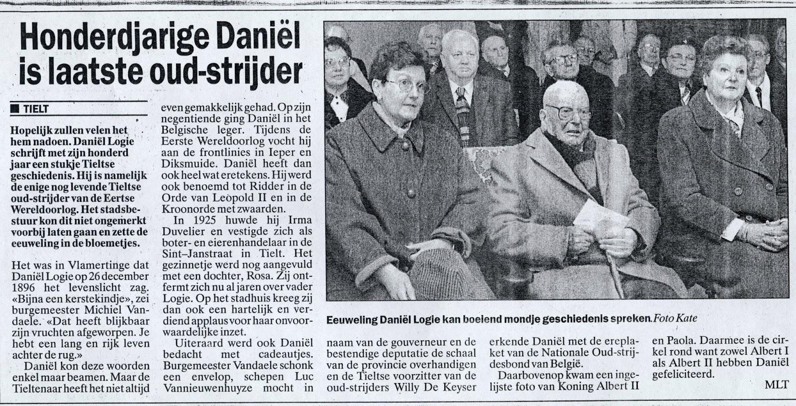 Oud-strijder en vuurkruiser Daniël Logie 1896-1997, als honderdjarige gevierd. Onbekend krantenartikel.