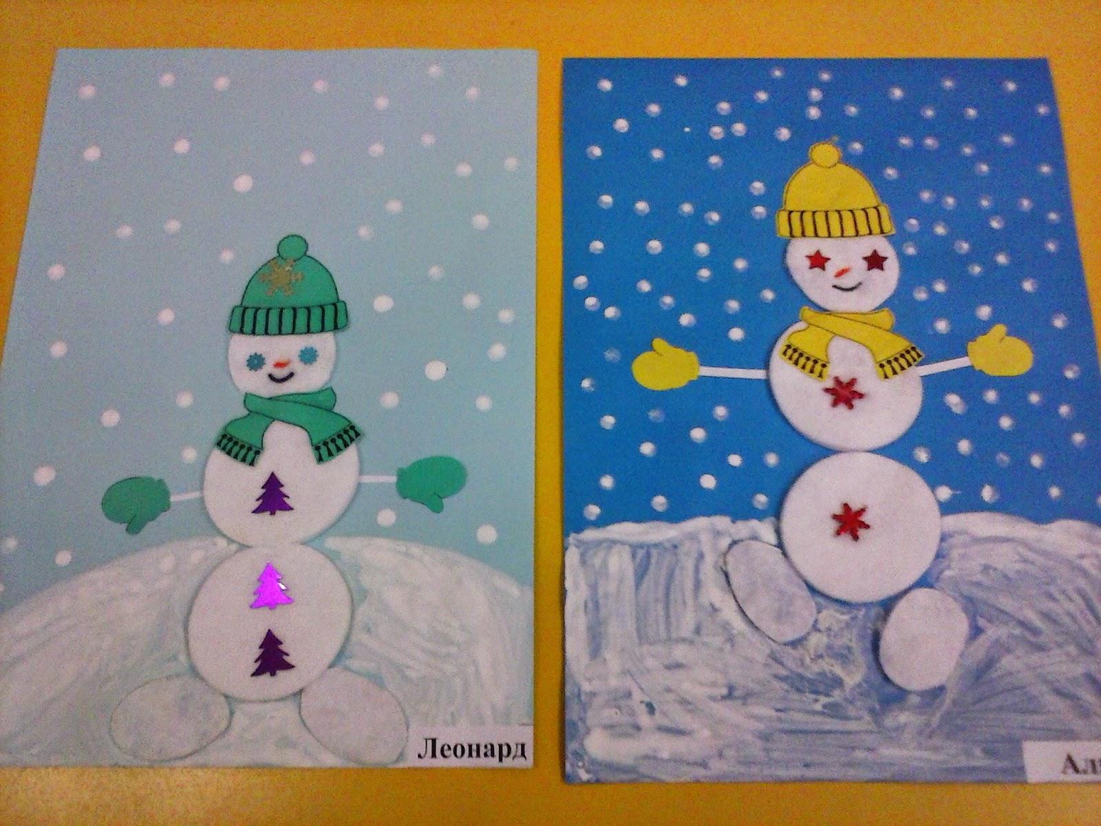 Как сделать снеговика из ватных дисков своими руками для детского сада