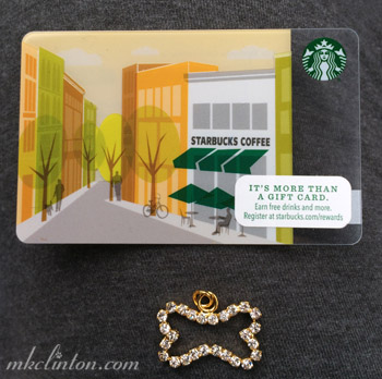 Starbucks gift card and rhinestone necklace charm