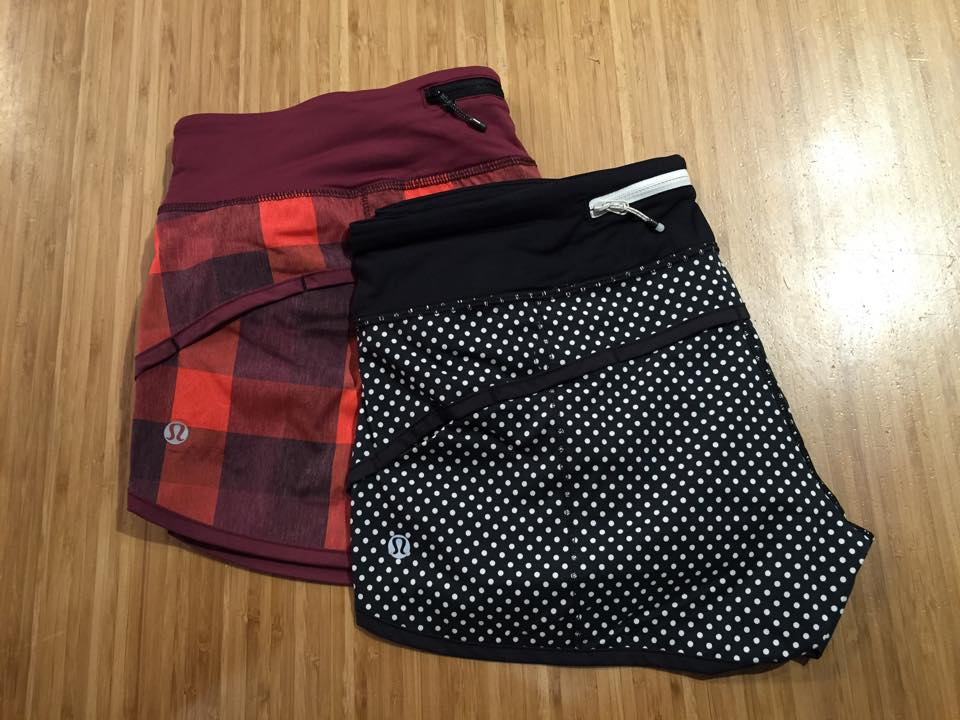 lululemon yama check flaming tomato speed shorts