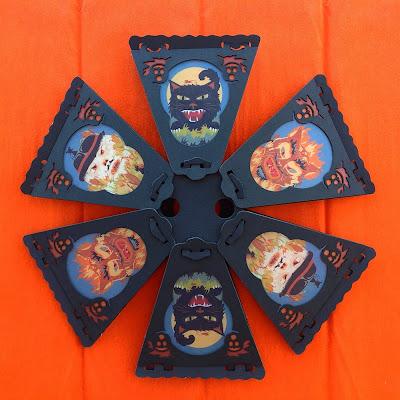 Bottom view of vintage style 12-side lanterns in full color by Halloween artist Bindlegrim
