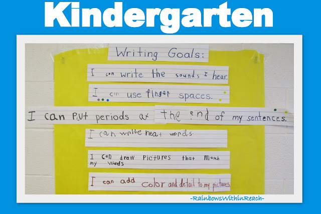 photo of: Kindergarten Writing Goals Cooperative Writing Mural