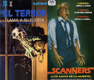 VHS de Night of the creeps y Scanners
